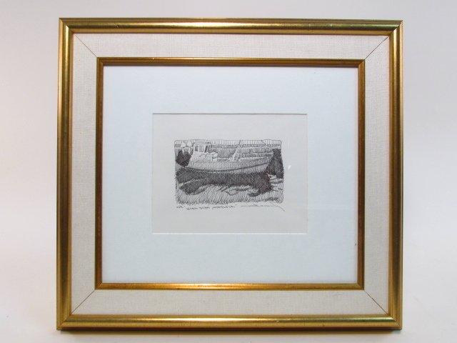 FRAMED C.W. MUNDY PEN DRAWING ON PAPER