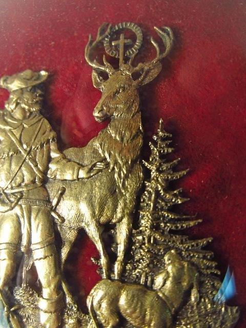 MINIATURE FRAMED EMBOSSED BRASS PLAQUE DISPLAY W/ - 9