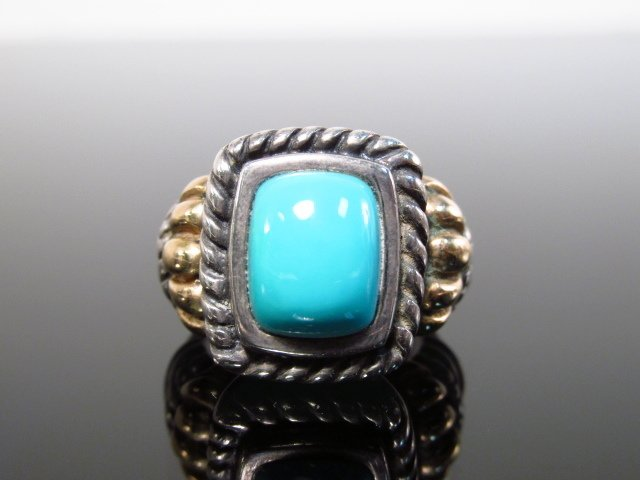 14K WHITE & YELLOW GOLD & TURQUOISE RING SIZE 5.5