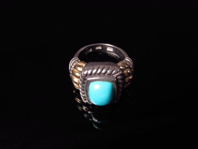 14K WHITE & YELLOW GOLD & TURQUOISE RING SIZE 5.5 - 4