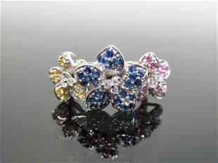 14 KT WHITE GOLD DIAMOND MULTI COLOR SAPPHIRE RING