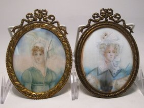 TWO ANTIQUE MINIATURE PORTRAITS ON IVORY