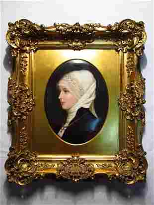 19TH C GERMAN HAND PAINTED PORCELAIN PLAQUE OF A Y