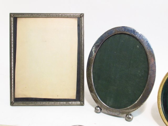 VINTAGE PHOTOGRAPH FRAME LOT, STERLING, GUILLOCHE - 2