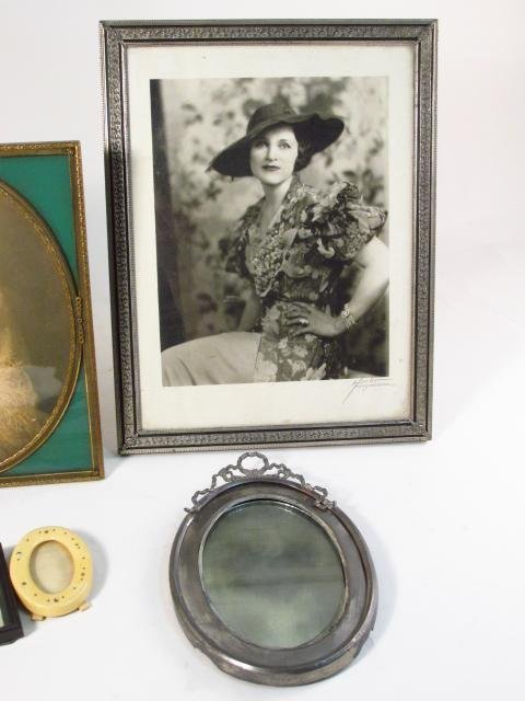 VINTAGE PHOTOGRAPH FRAME LOT, STERLING, GUILLOCHE - 4