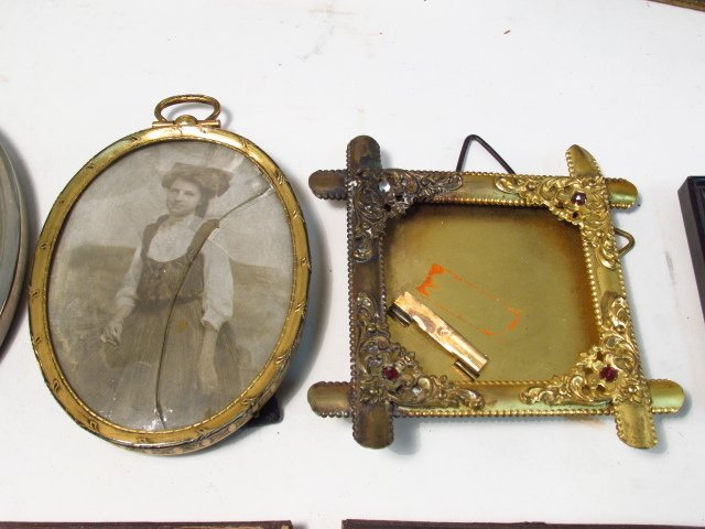 VINTAGE PHOTOGRAPH FRAME LOT, STERLING, GUILLOCHE - 6