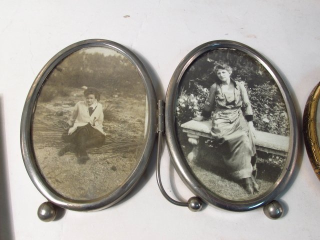 VINTAGE PHOTOGRAPH FRAME LOT, STERLING, GUILLOCHE - 7