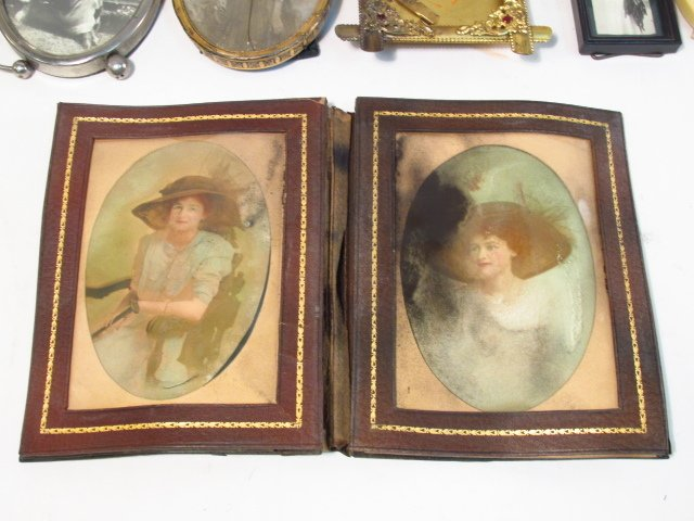 VINTAGE PHOTOGRAPH FRAME LOT, STERLING, GUILLOCHE - 9