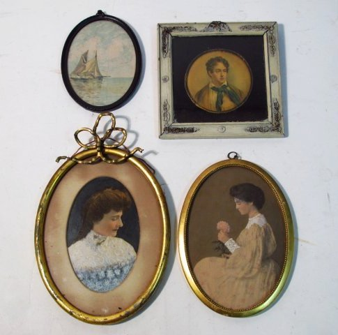 FOUR FRAMED MINIATURE PORTRAITS, ETC.