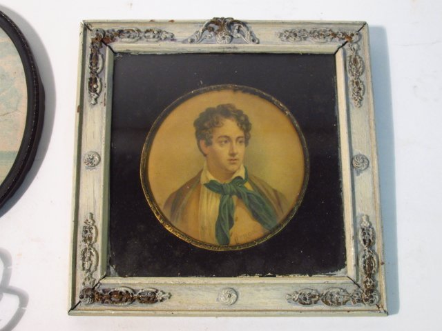 FOUR FRAMED MINIATURE PORTRAITS, ETC. - 3