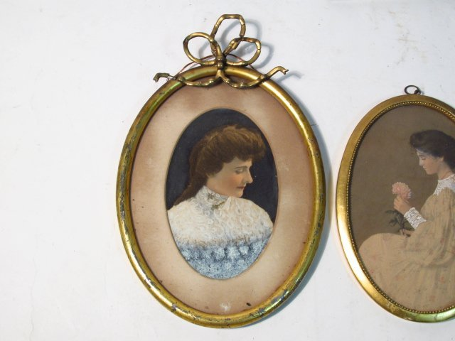FOUR FRAMED MINIATURE PORTRAITS, ETC. - 4