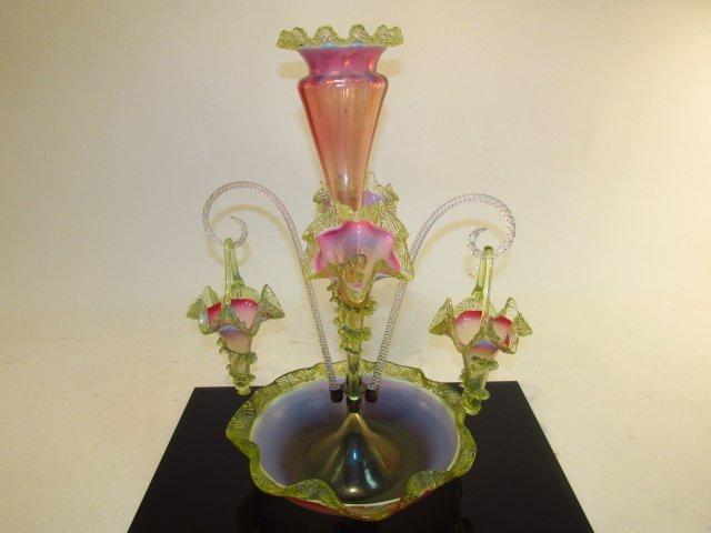 VICTORIAN VASELINE & CRANBERRY GLASS EPERGNE