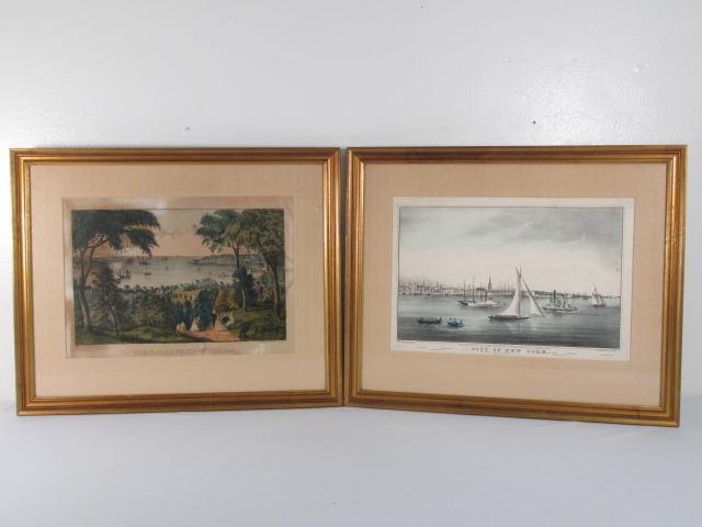 TWO CURRIER & IVES HAND COLORED PRINTS: THE NARROW