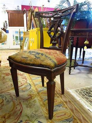 SMALL 19TH C CARVED WOOD SIDE CHAIR