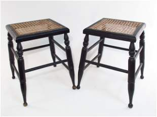 PAIR ANTIQUE HITCHCOCK STYLE WOODEN STOOLS