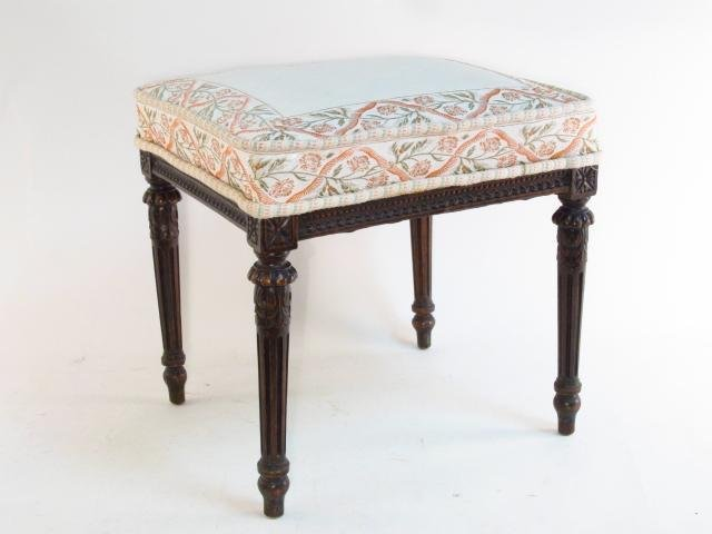 ANTIQUE NEOCLASSICAL STYLE UPHOLSTERED FOOTSTOOL