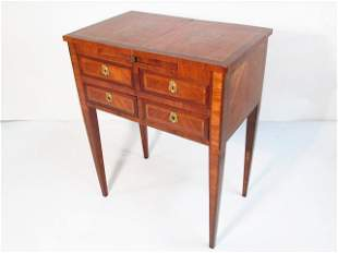 ANTIQUE FRENCH PARQUETRY INLAID VANITY CABINET