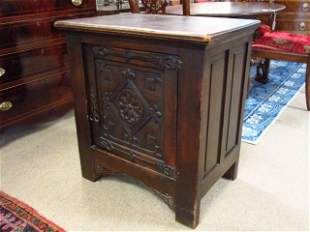 GOTHIC REVIVAL STYLE IRON MOUNTED SIDE TABLE CHEST