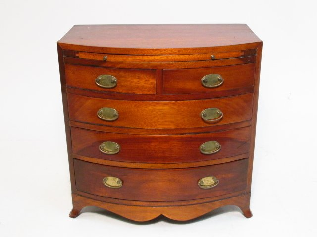 ANTIQUE SALESMANS SAMPLE BOWFRONT CHEST OF DRAWERS