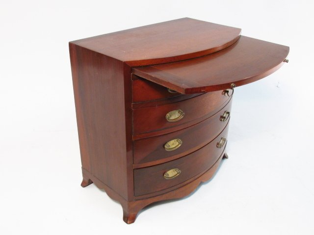 ANTIQUE SALESMANS SAMPLE BOWFRONT CHEST OF DRAWERS - 2
