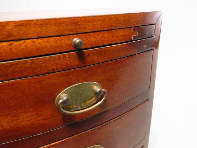 ANTIQUE SALESMANS SAMPLE BOWFRONT CHEST OF DRAWERS - 4
