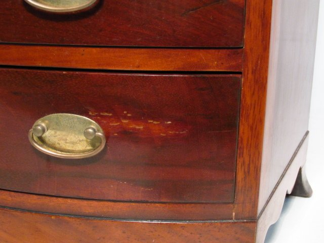 ANTIQUE SALESMANS SAMPLE BOWFRONT CHEST OF DRAWERS - 7
