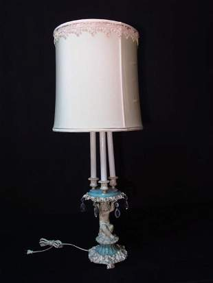 EARLY 20TH C FIGURAL METAL PUTTI TABLE LAMP