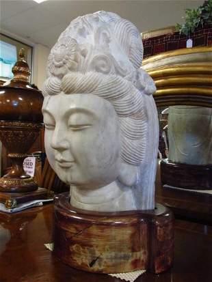 HEAVY CARVED STONE BUDDHA HEAD BUST