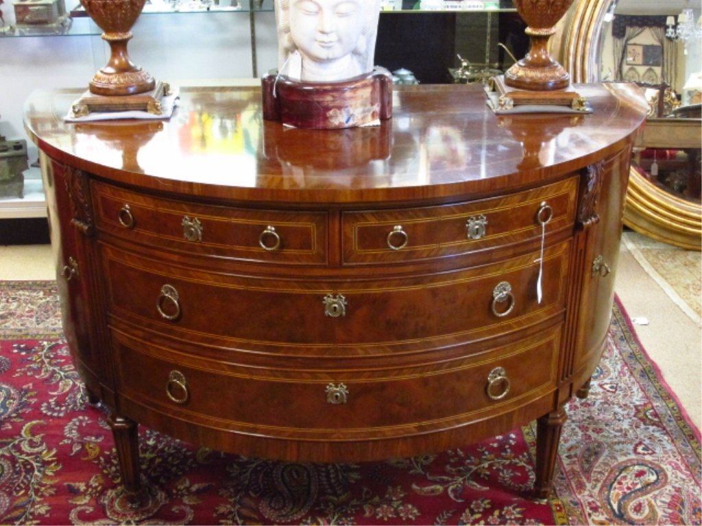 KARGES PARQUETRY INLAID BURLED WOOD DEMI-SIDEBOARD