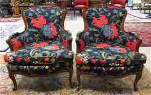 PAIR WALNUT FINISHED ARMCHAIRS W/ BLACK FLORAL FAB
