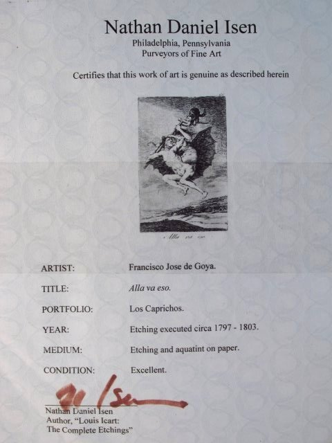 FRANCISCO JOSE DE GOYA ORIGINAL ETCHING: ALLA VA E - 8