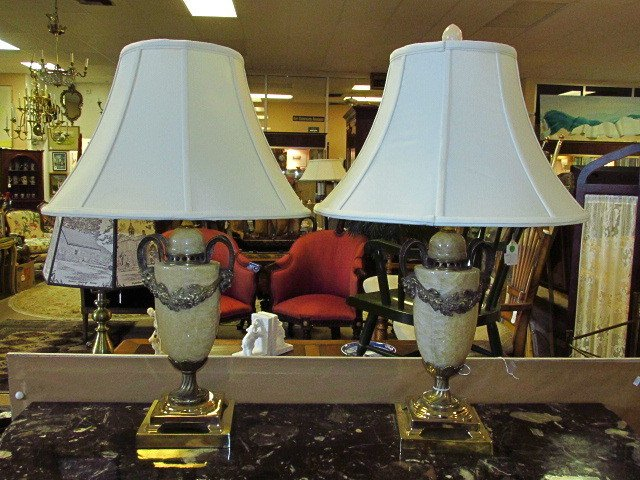 PAIR BRASS MOUNTED ALABASTER TABLE LAMPS