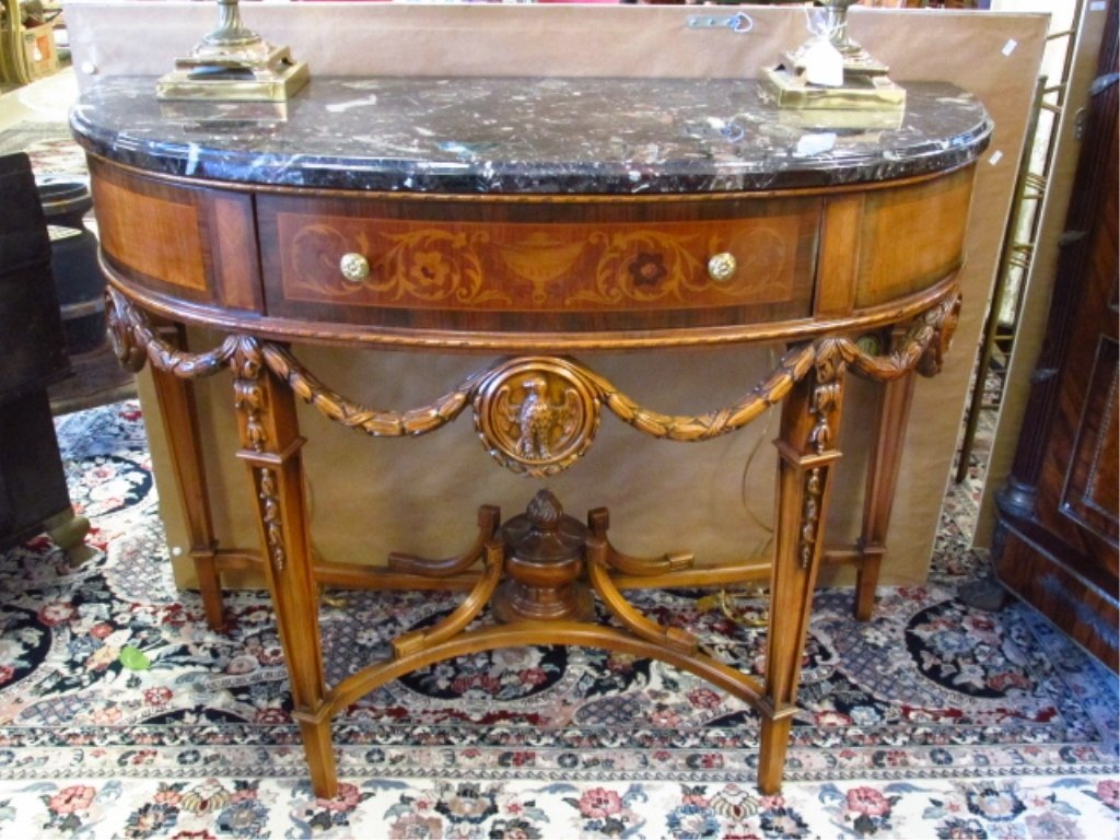 MARQUETRY MARBLE TOP DEMILUNE CONSOLE