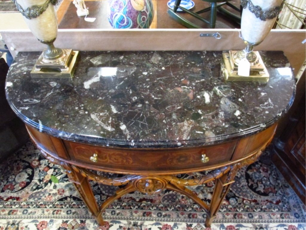 MARQUETRY MARBLE TOP DEMILUNE CONSOLE - 2