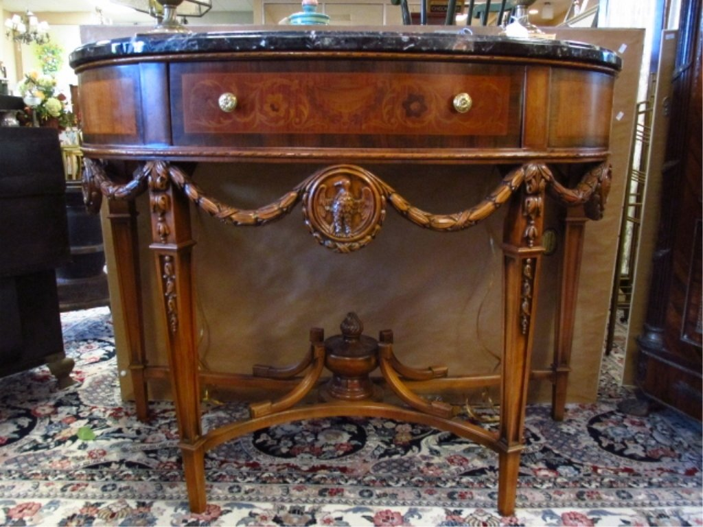 MARQUETRY MARBLE TOP DEMILUNE CONSOLE - 3