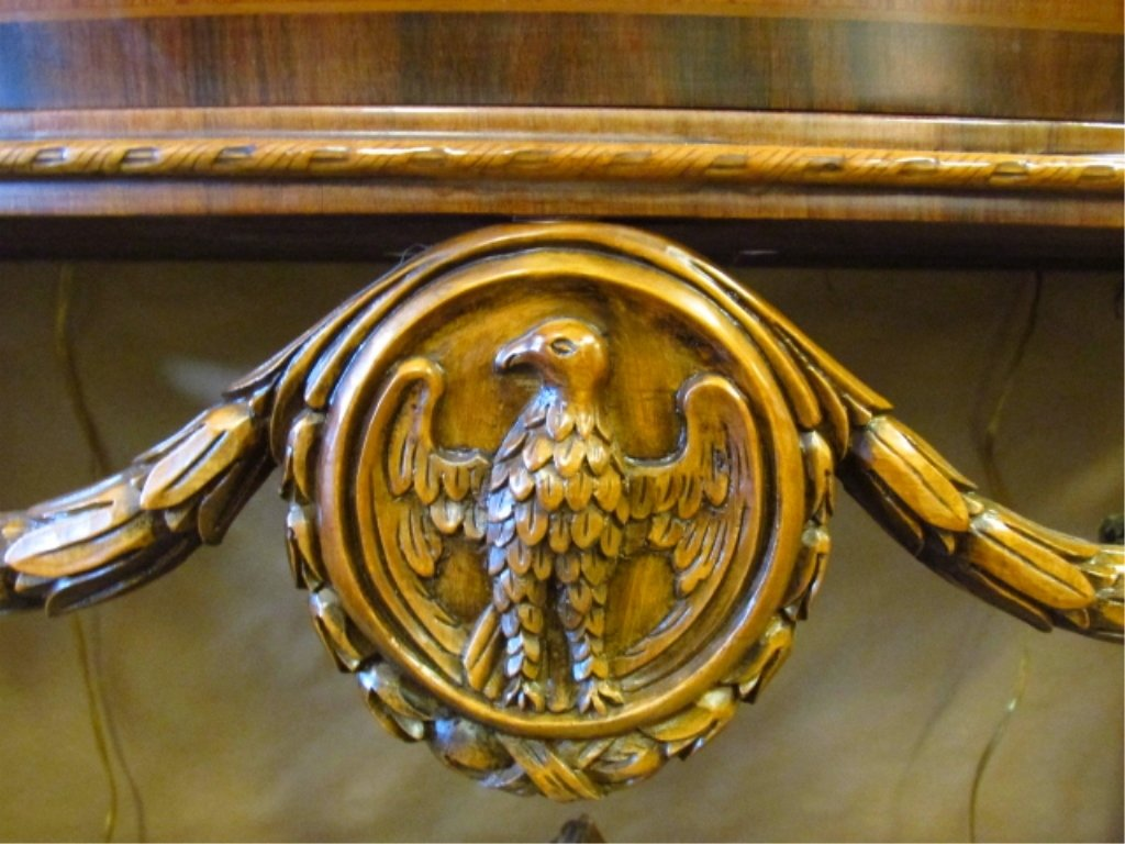 MARQUETRY MARBLE TOP DEMILUNE CONSOLE - 5