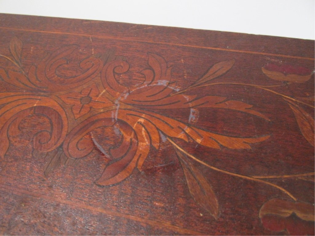 PAIR MARQUETRY INLAID DROP LEAF SIDE TABLES - 10