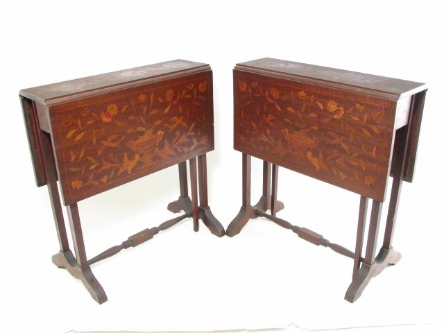 PAIR MARQUETRY INLAID DROP LEAF SIDE TABLES