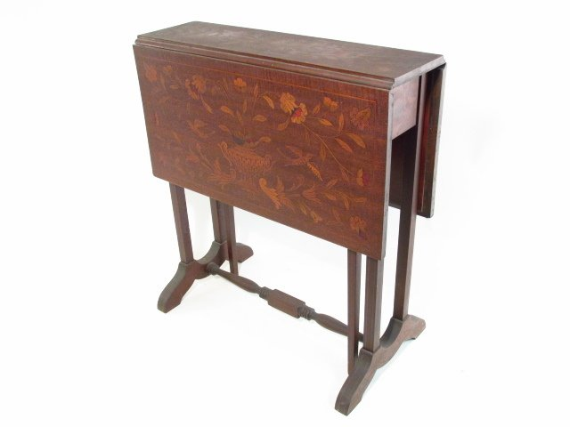 PAIR MARQUETRY INLAID DROP LEAF SIDE TABLES - 2
