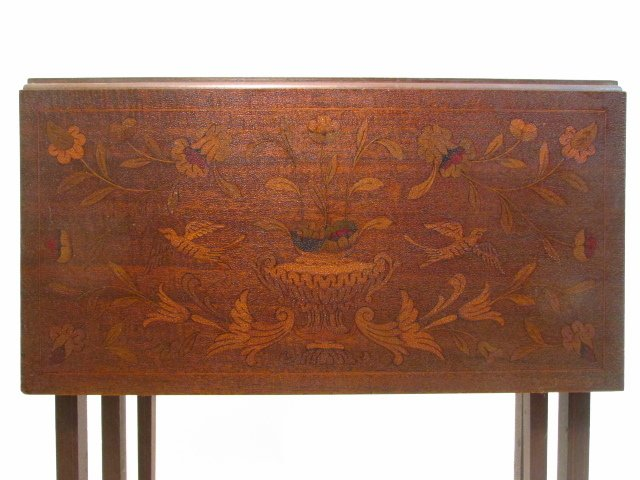 PAIR MARQUETRY INLAID DROP LEAF SIDE TABLES - 3