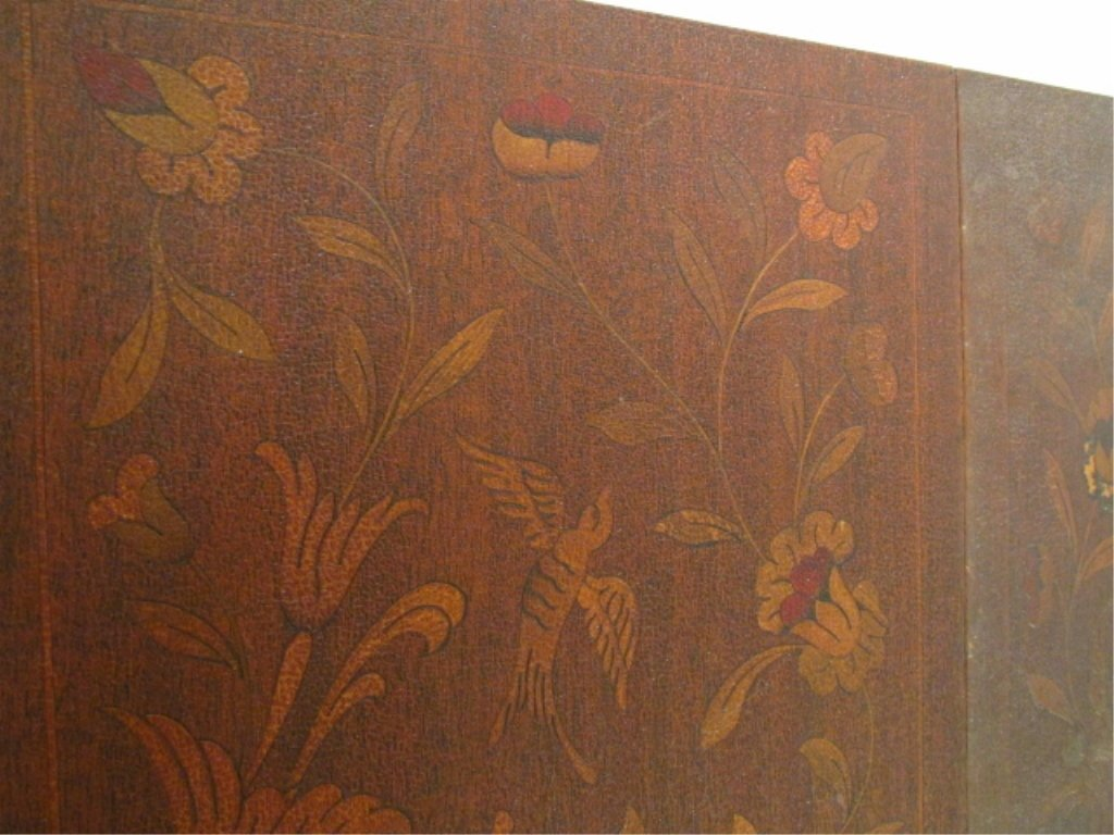 PAIR MARQUETRY INLAID DROP LEAF SIDE TABLES - 4