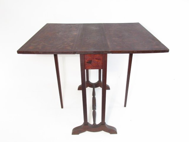 PAIR MARQUETRY INLAID DROP LEAF SIDE TABLES - 6