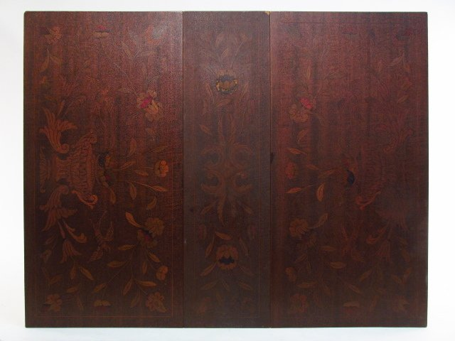 PAIR MARQUETRY INLAID DROP LEAF SIDE TABLES - 7