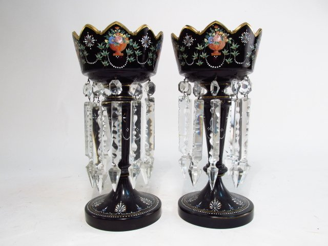 PAIR VICTORIAN BLACK GLASS MANTEL LUSTRES