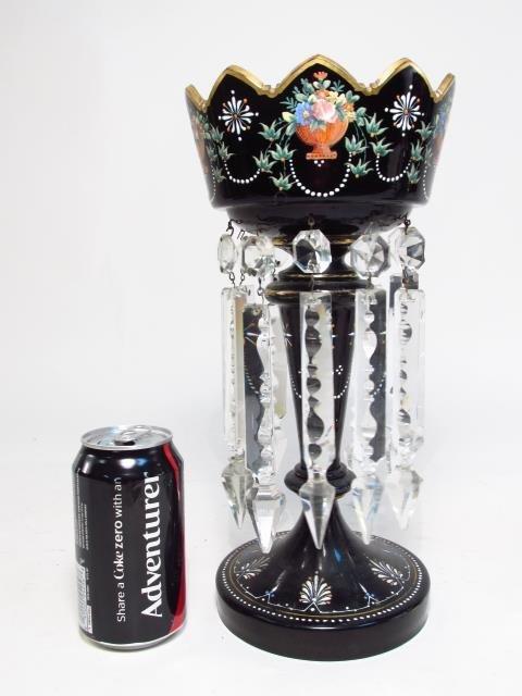 PAIR VICTORIAN BLACK GLASS MANTEL LUSTRES - 2