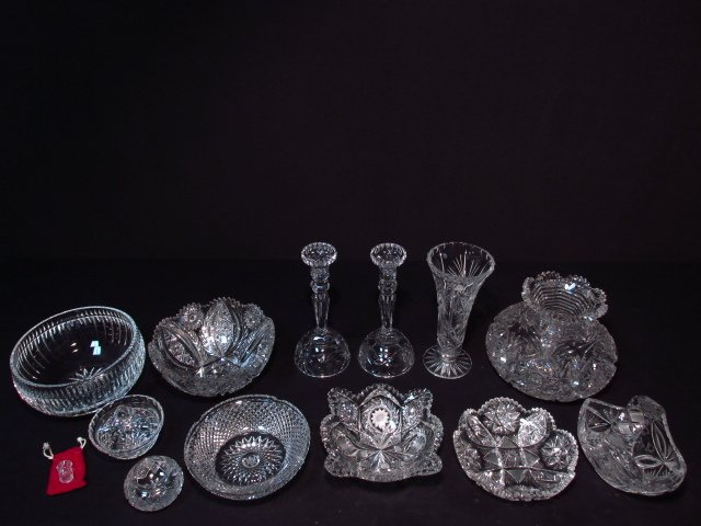 GROUP LOT 13 PCS CUT CRYSTAL & GLASS