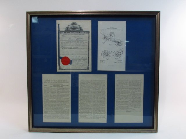 """VINTAGE FRAMED DISPLAY """"LAUNCHING DEVICE..."""" PAT"""