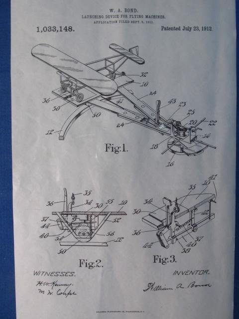 """VINTAGE FRAMED DISPLAY """"LAUNCHING DEVICE..."""" PAT - 3"""