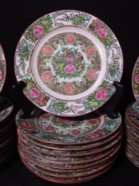 CHINESE ROSE MEDALLION DINNERWARE SET: 66 PCS - 5