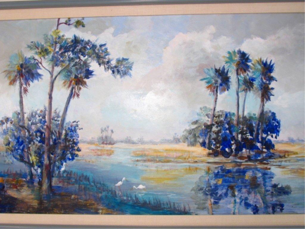 FLORIDA STYLE ACRYLIC ON MASONITE PAINTING - 2